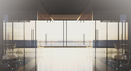 Modern office interior with panoramic windows and meeting rooms. 3D rendering