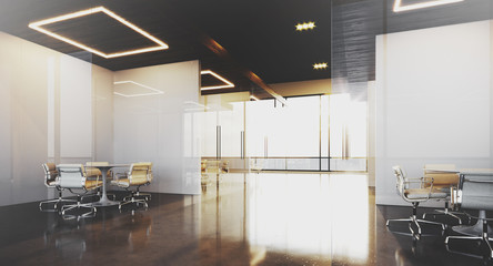Contemporary office interior with panoramic windows and meeting rooms. 3D rendering