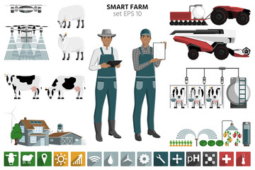 Etiqueta Engomada - Smart farming set. Modern black african american farmer with digital tablet, autonomous harvester, tractor and drone. Elements for design and infographics. Vector illustration EPS 10