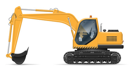Yellow excavator with view from side isolated on white background. Construction vehicle vector mockup, easy editing and recolor