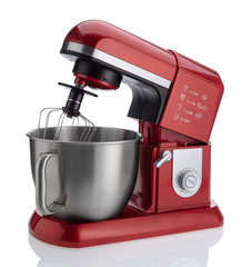 Modern kitchen mixer for baking on a white background.