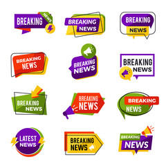 News announce. Daily geometric media informers for website advertising information for breaking news vector badges collection. Breaking news emblem, broadcasting newscast informing illustration