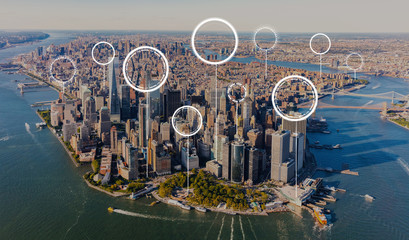 Fotobehang New York Technology digital circle with aerial view of Manhattan, NY skyline