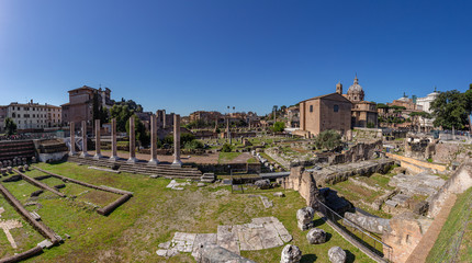 Architectural excavations in Roman Forum. Outdor Italy