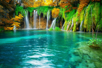 Foto op Canvas Watervallen Exotic waterfall and lake landscape of Plitvice Lakes National Park, UNESCO natural world heritage and famous travel destination of Croatia. The lakes are located in central Croatia (Croatia proper).