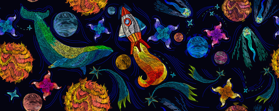 Embroidery universe, spaceship and blue whale seamless pattern. Rocket, planet, solar system, galaxy. Fantasy template for clothes, textiles, t-shirt design