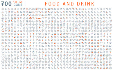 Fototapeta Set Vector Line Icons of Food and Drink obraz