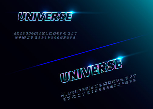 """""""Universe"""" futuristic vector decorative font"""
