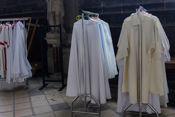 Chasubles of the priest in a Catholic church