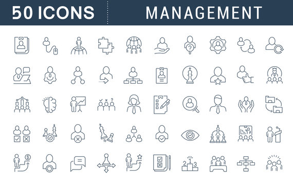 Set Vector Line Icons of Management