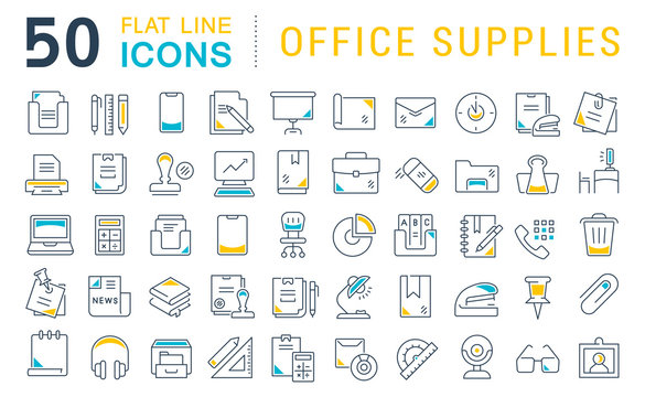 Set Vector Line Icons of Office Supplies