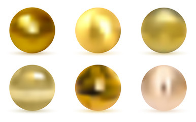 Gold glossy sphere set isolated on white. Golden ball. Realistic gold sphere. Set of pearls