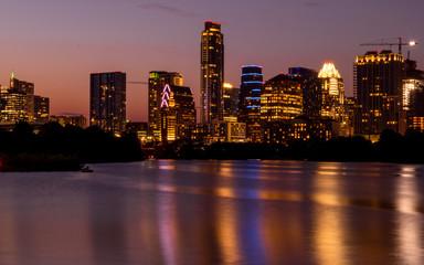 The night scenes of downtown Austin seen on Ann W. Richards Congress Avenue Bridge