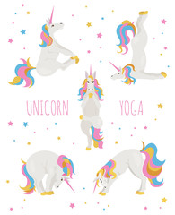 White unicorn yoga poses and exercises. Cute cartoon clipart set