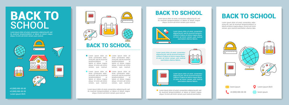 School education brochure template layout. New academic year. Flyer, booklet, leaflet print design with linear illustrations. Vector page layouts for magazines, annual reports, advertising posters