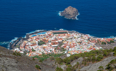 View of little town Garachico at the north coast of Tenerife (Canary Islands)