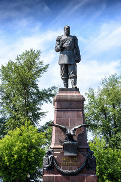 Russia, Irkutsk - July 6, 2019: Monument to Alexander III. All-Russian Emperor, King of Poland and Grand Prince of Finland
