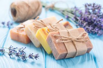 Obraz Handmade natural soap with lavander - fototapety do salonu