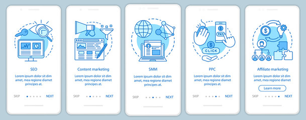 Digital marketing tactics blue onboarding mobile app page screen vector template. SEO,SMM, PPC walkthrough website steps with linear illustrations. UX, UI, GUI smartphone interface concept