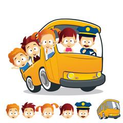 Scholl Bus Children Head Illustr