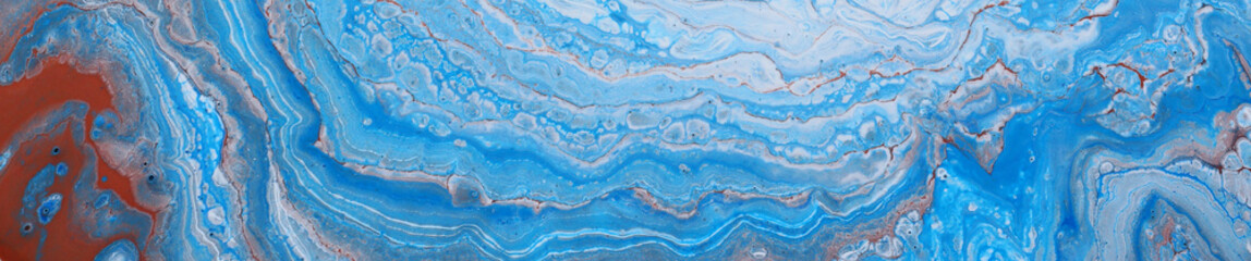 photography of abstract marbleized effect background. Blue and white creative colors. Beautiful paint. banner