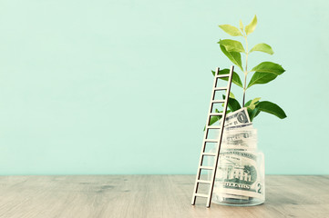 Business image of savings jar and ladder, money investment and financial growth concept
