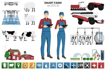 Etiqueta Engomada - Smart farming set. Modern farmer with digital tablet, autonomous harvester, tractor and drone. Elements for design and infographics. Vector illustration EPS 10