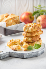 Homemade apple cookies with milk and mint, soft and tender biscuits. Summer dessert, autumn food, breakfast for children, sweet lunch