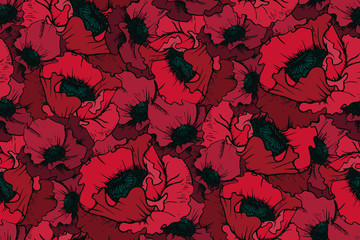 Gloomy flower pattern. Seamless ornament. Design of burgundy poppy flowers, dark colors.