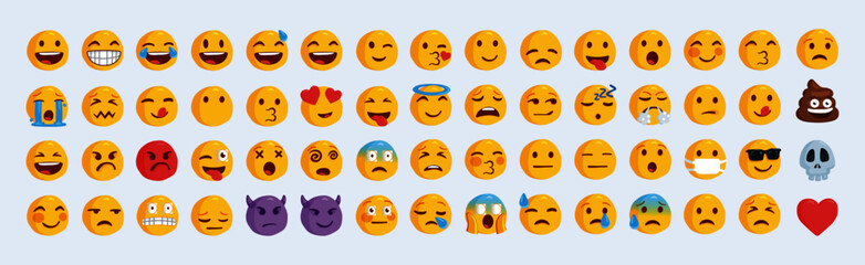 Vector all emojis set. Funny network emoticon set