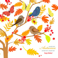 Fototapete - invitation card with happy birds on branches of rowan tree for y