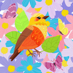 Fototapete - seamless texture with pretty bird in fancy flowers for your desi