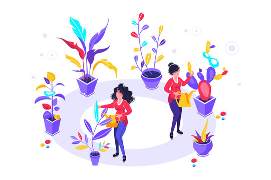 Vector illustration of  watering can and flowers on white background, gardeners taking care of the garden, growing and studying plants in nature, clean ecology, garden tools