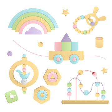 Natural wooden toys for babies consisting of rainbow, bracelet and other objects.