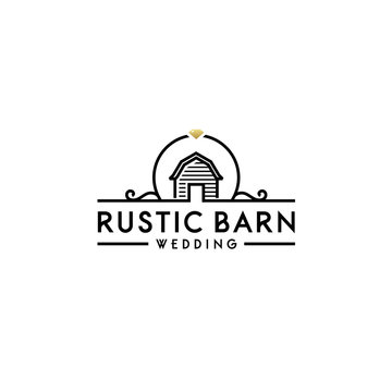 Simple Barn with Floral Wedding Banner logo design
