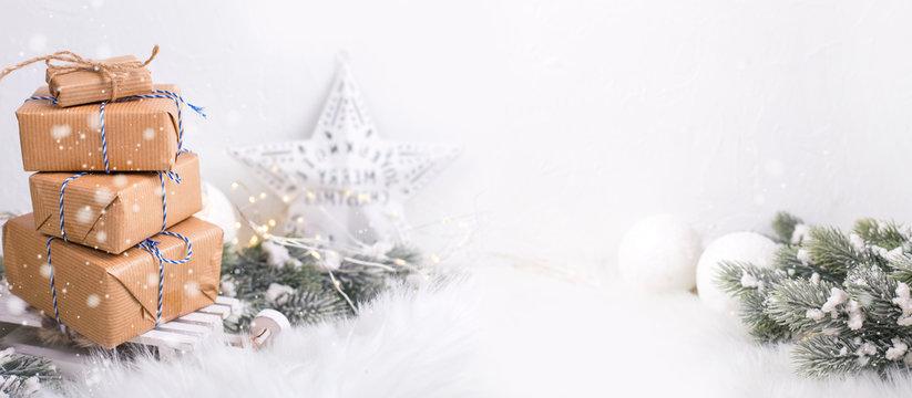 Winter holiday, Christmas, New Year greeting card