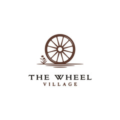 Vintage Old Wooden Cart Wheel logo design
