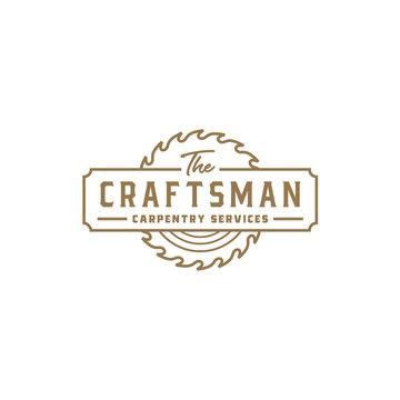 Vintage Retro Craftsman Carpentry Logo design