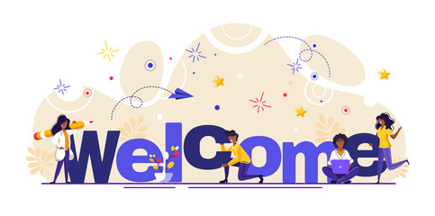 Concept new team member, welcome word, people celebrate, for web page, banner, presentation, social media, documents, cards, posters. meeting, greeting concept Vector illustration