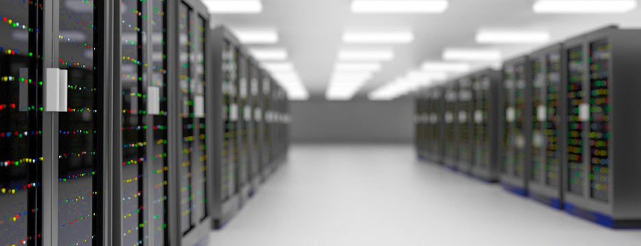 Server room data center. Backup, hosting, mainframe, farm and computer rack with storage information.