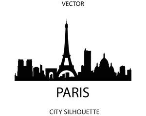 Paris skyline silhouette vector of famous places
