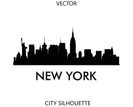 New York skyline silhouette vector of famous places
