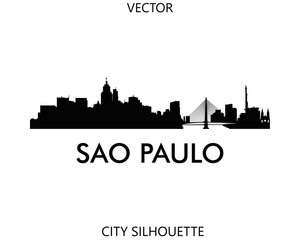 Sao Paulo skyline silhouette vector of famous places