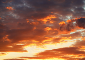 Burning sunset evening cloudscape background hd