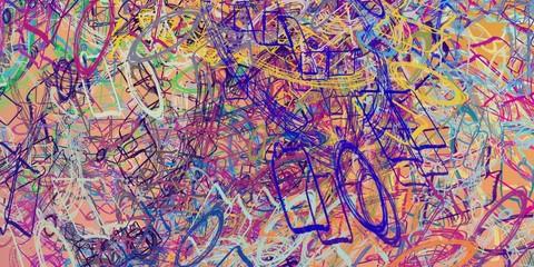 Deurstickers Graffiti Handmade surreal abstract pattern. Modern artistic canvas. 2d illustration. Texture backdrop painting.