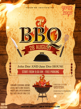 BBQ party invitation template with pattern elements on yellow with grunge. Party Barbecue weekend flyer. Grill illustration with food and grill. Vector design for celebration, invitation.