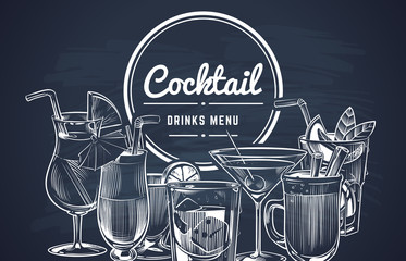 Sketch cocktail background. Hand drawn alcohol cocktails drinks bar menu, cold drinking restaurant beverages set. Vector design