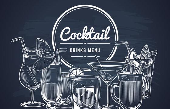 Sketch cocktail background. Hand drawn alcohol cocktails drinks bar menu, cold drinking restaurant beverages set. Vector design