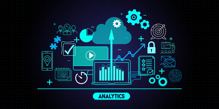 Business data analytics process management with KPI financial charts and graph and automated marketing dashboard.