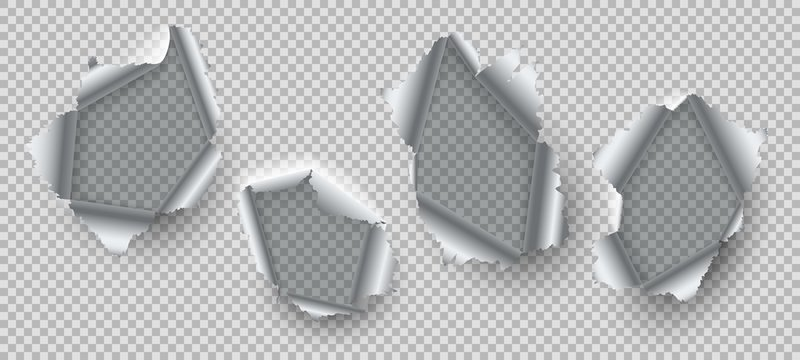 Metal hole. Ripped edges of damaged steel, burst metal with ragged torn holes. Open destruction fissures realistic vector set